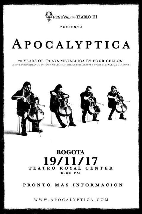 boletas apocalyptica colombia 2017