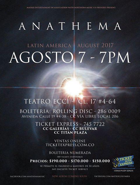 boletas concierto anathema colombia 2017